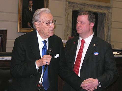 The late Oral Roberts addresses the Oklahoma Senate in 2009 as state Sen. Dan Newberry (R-Tulsa) looks on.