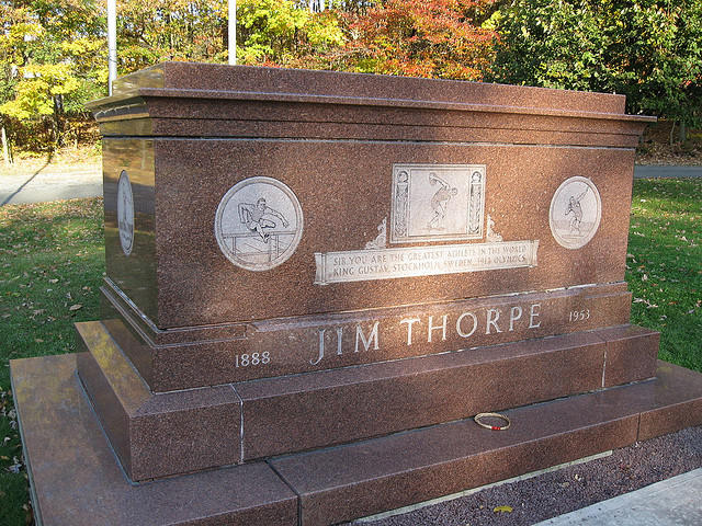 Jim Thorpe's grave in the eastern Pennsylvania town that now bears his name.