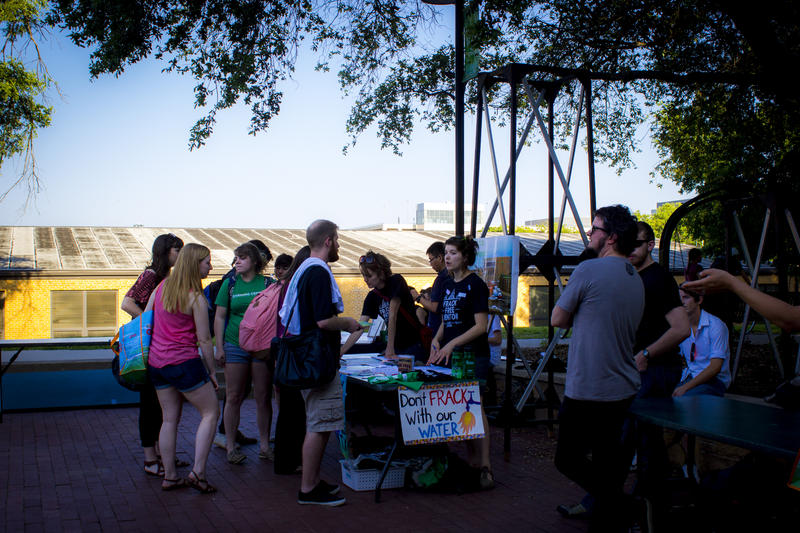 A Frack Free Denton booth at the University of North Texas. On Nov. 4, voters approved a citywide ban on hydraulic fracturing.