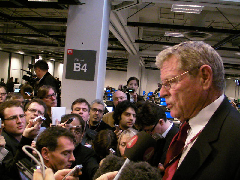 U.S. Sen. Jim Inhofe (R-Okla.) at an impromptu news conference during climate talks in Copenhagen in 2009.