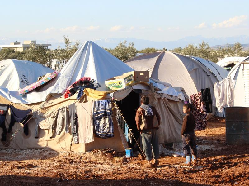 A refugee camp in Syria's northern city Aleppo, December 2013