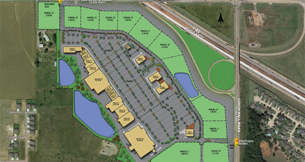 A layout of the planned $50 million, 450,000-square-foot retail development at the intersection of NW 10th Street, N. Czech Hall Road, and Interstate 40 near Yukon.
