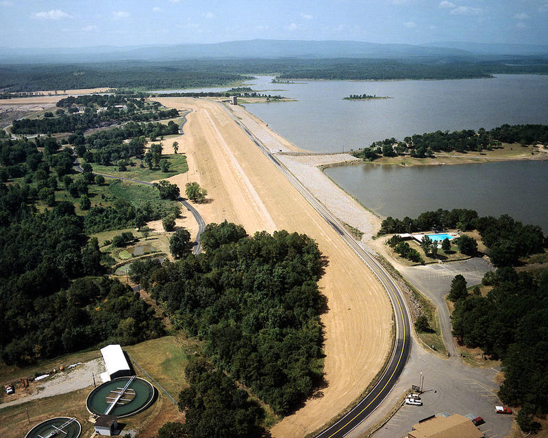 Aerial view of Wister Lake and Dam on the Poteau River and the Fourche Maline creek in Le Flore County, Oklahoma, USA. The dam was constructed in 1949 by the U.S. Army Corps of Engineers for flood control and water supply.