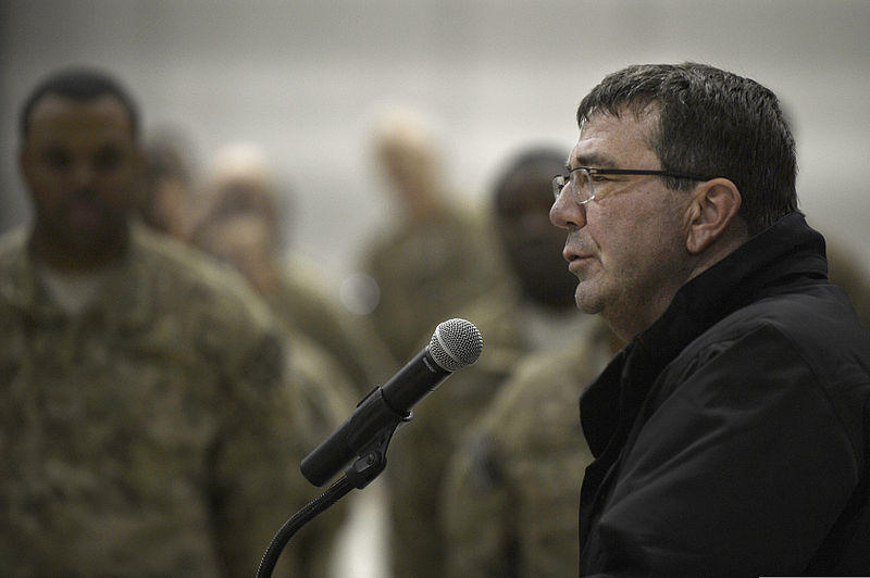 U.S. Deputy Secretary of Defense Ash Carter, right, speaks with Service members at Bagram Airfield, Afghanistan, Nov. 28, 2013.