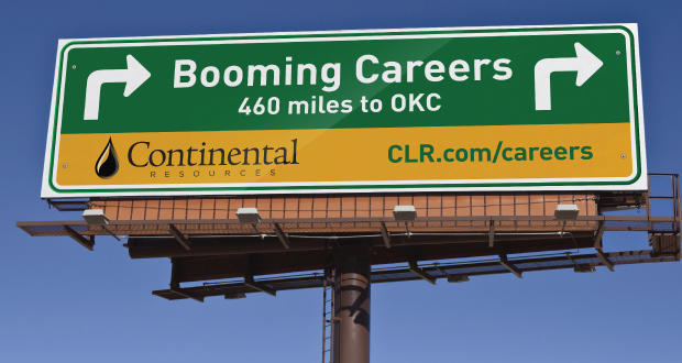 With billboards pointing toward Oklahoma City and messages about booming careers and less traffic in Oklahoma City, Continental Resources is promoting itself in Houston. The energy company is making a connection, as revealed on online applications.