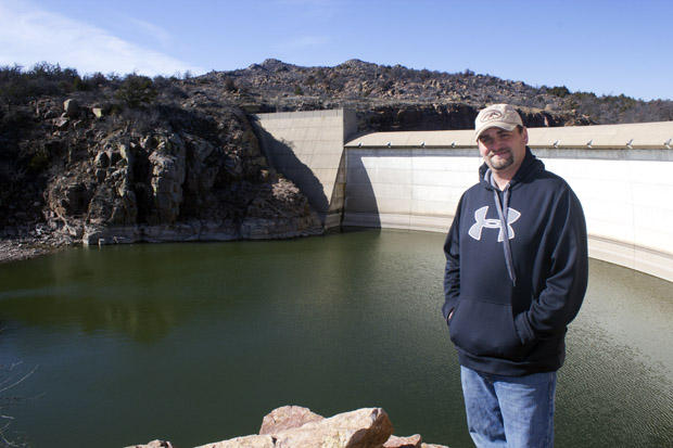 Will Archer, manager of the Mountain Park Master Conservancy District, at the Tom Steed Reservoir dam.