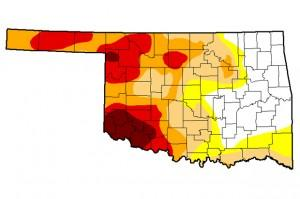 The December 30, 2014 update of the U.S. Drought Monitor for Oklahoma.
