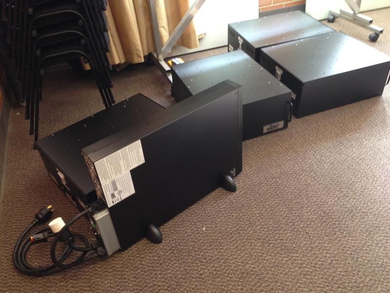 This doesn't look like much now, but these pieces of equipment will become a powerful uninterruptable power supply that will keep KGOU's main studios operating during power outages for up to four hours.