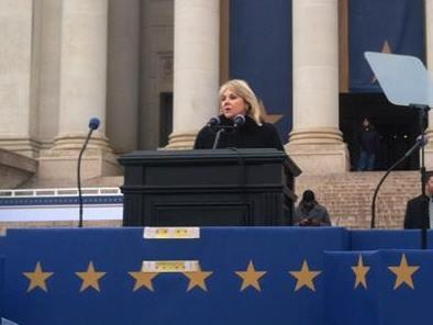 Gov. Mary Fallin rehearses her second inaugural address January 11 on the south steps of the Oklahoma Capitol.