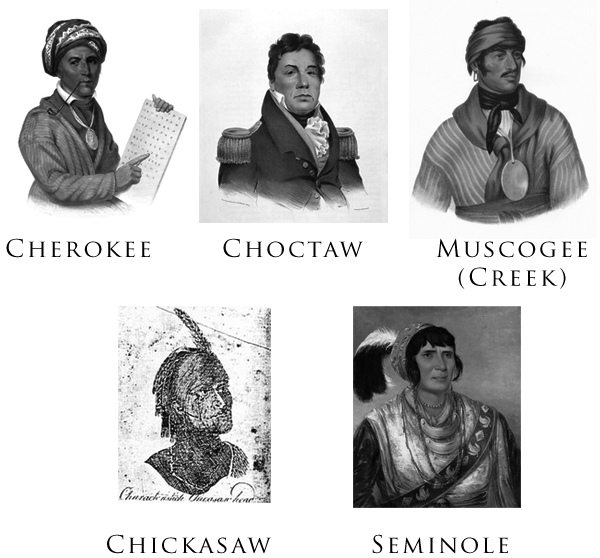 Gallery of the Five Civilized Tribes. The portraits were drawn or painted between 1775 and 1850.
