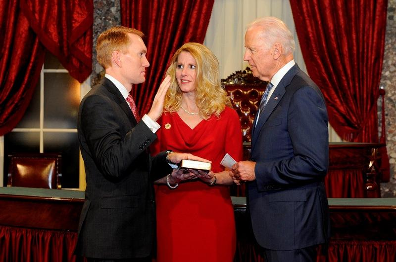 Vice President Joe Biden administers the oath of office to U.S. Sen. James Lankford during the ceremonial swearing in January 6.
