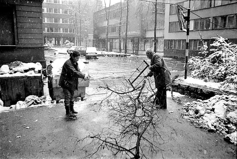 Besieged Sarajevo residents collect firewood in the bitter winter of 1992.