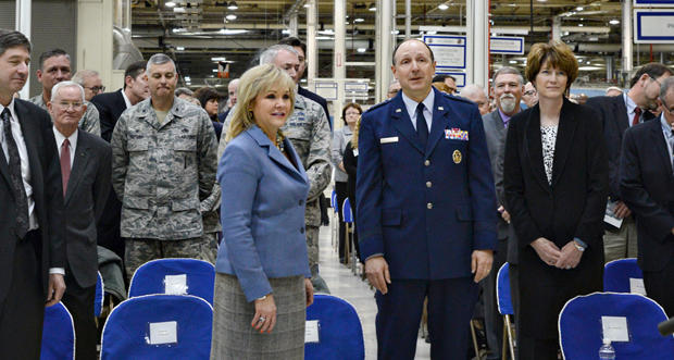 Gov. Mary Fallin and U.S. Air Force officials attend the announcement of a deal that will provide more land for Tinker Air Force Base.