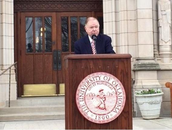 University of Oklahoma President David Boren addresses reporters on the steps of Evans Hall Friday to announce the findings of OU's investigation into the local chapter of the SIgma Alpha Epsilon fraternity.