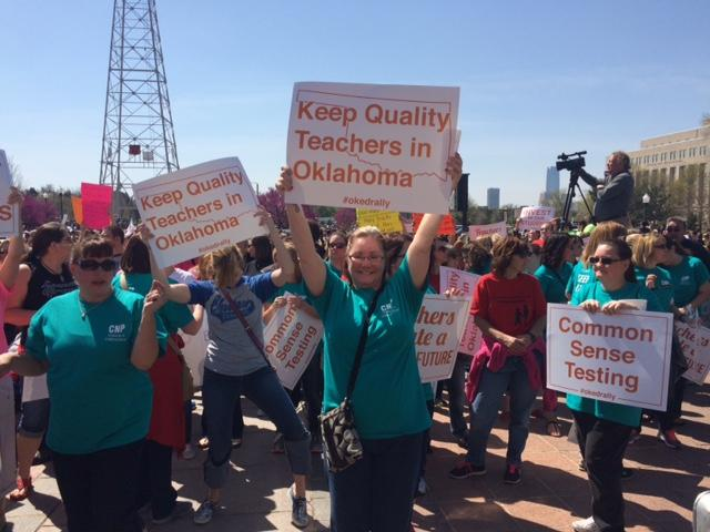 Teachers and education supporters rally at the state Capitol in Oklahoma City Monday.