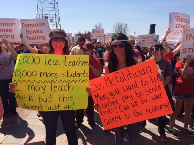 Teachers and education supporters rally at the state Capitol in Oklahoma City in March 2015, asking for better pay.
