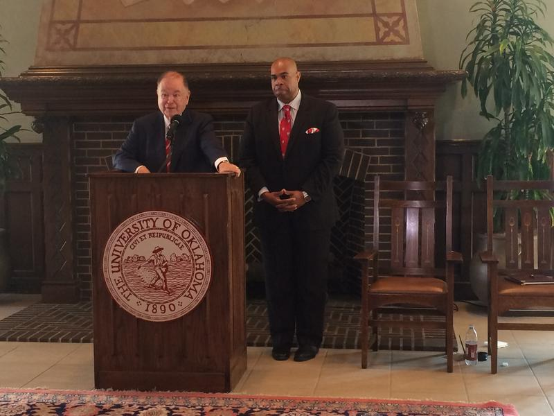 University of Oklahoma President David Boren announces the appointment of Jabar Shumate as OU's new Vice President for the University Community during a March 31 press conference.