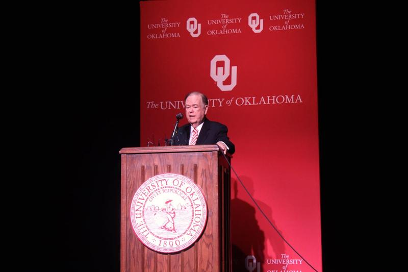 University of Oklahoma President David Boren during Monday's press conference in Holmberg Hall addressing the racist video.
