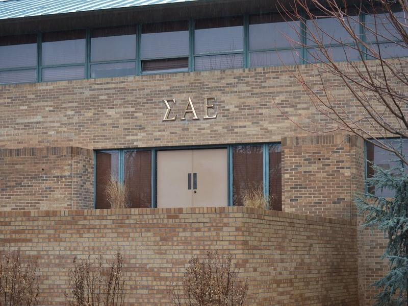The exterior of the Sigma Alpha Epsilon fraternity house on the University of Oklahoma campus, shortly before the letters were removed from the building March 9, 2015.