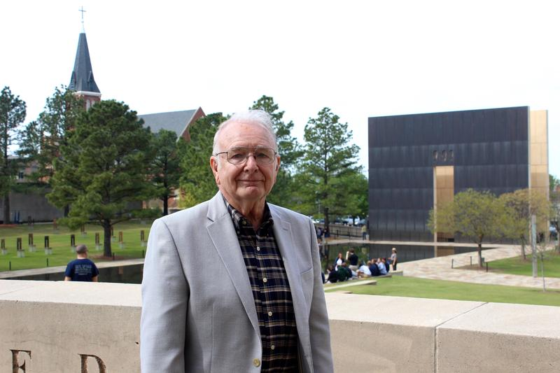 Paul Heath, 80, stands in front of the Oklahoma City Bombing Memorial. He was in his fifth floor office of the Alfred P. Murrah Federal Building the day of the explosion in 1995.