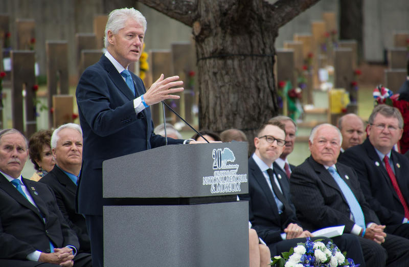 Former President Bill Clinton speaking during Sunday's ceremony, which marked his sixth time to visit the former site of the Alfred P. Murrah Federal Building