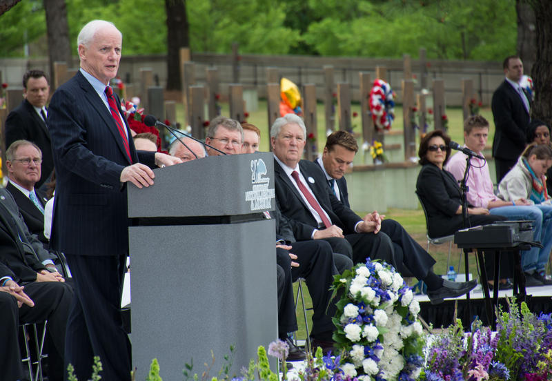 Former Oklahoma Gov. Frank Keating speaking during Sunday's remembrance ceremony at the Oklahoma City National Memorial and Museum