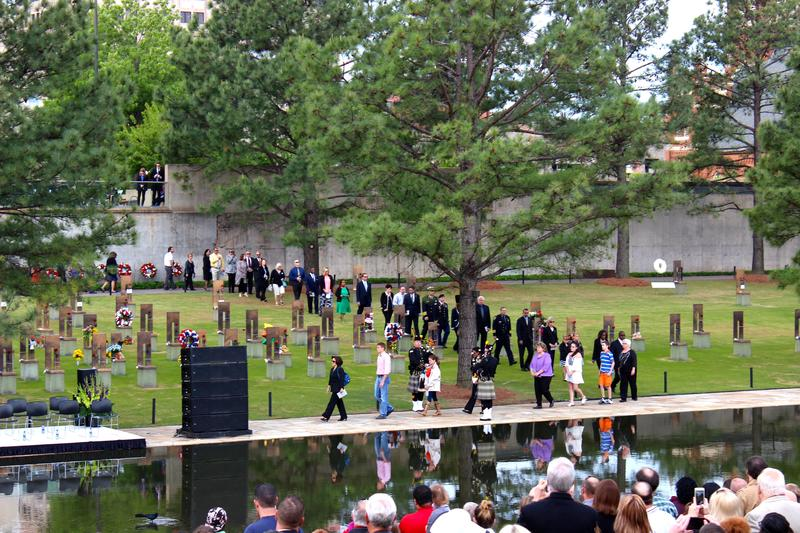 Bagpipes lead a procession of victims' family members of the Oklahoma City bombing.