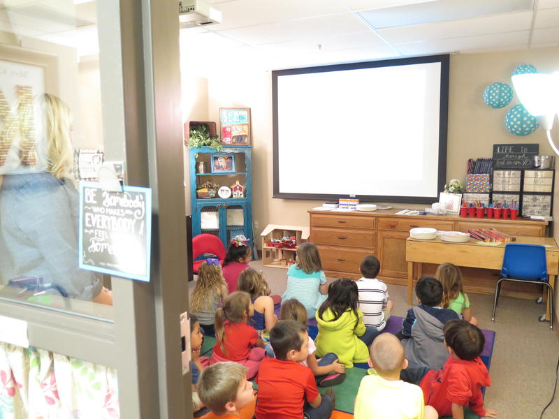 A class in the assistant principal's old office at Burcham Elementary in Weatherford.