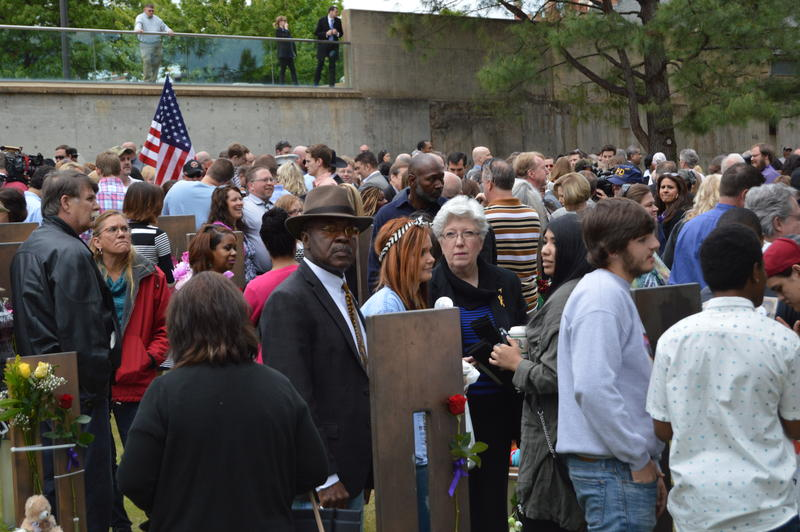 Family members and friends of Oklahoma City bombing victims gathered at the Oklahoma City National Memorial to commemorate the bombing's 20th anniversary.