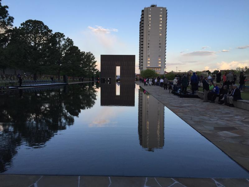 The Oklahoma City National Memorial on the morning of April 19, 2015 as survivors, family members of victims, and first responders gathered to remember the 168 people killed two decades ago.