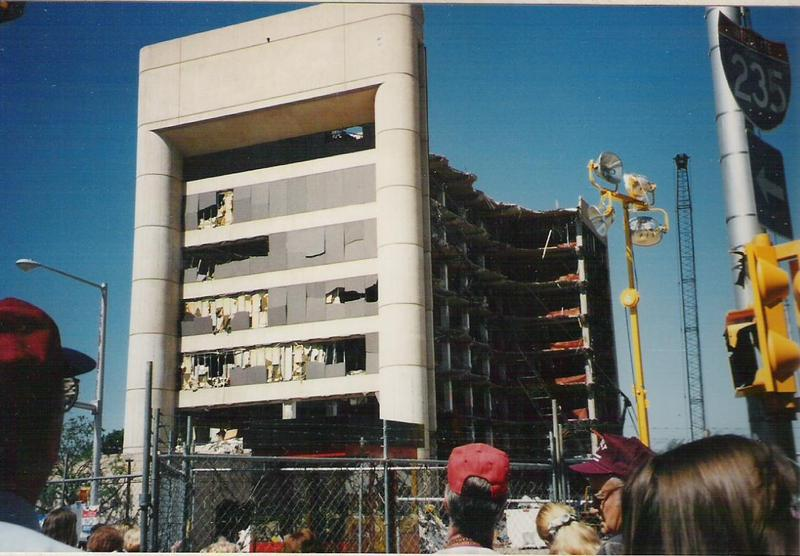 The Alfred P. Murrah Federal Building on May 19, 1995, exactly one month after the bombing. It was demolished four days later.