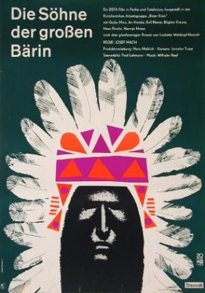 The poster for the 1966 East German Western film 'Die Söhne der großen Bärin' (literally 'The Sons of the Great She-Bear'), directed by the Czechoslovakian filmmaker Josef Mach