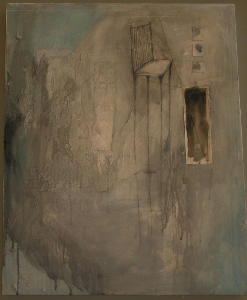 "Brandi Downham's ""Instinct"". Acrylic, graphite, ink, thread, watercolor, journal entries on canvas."