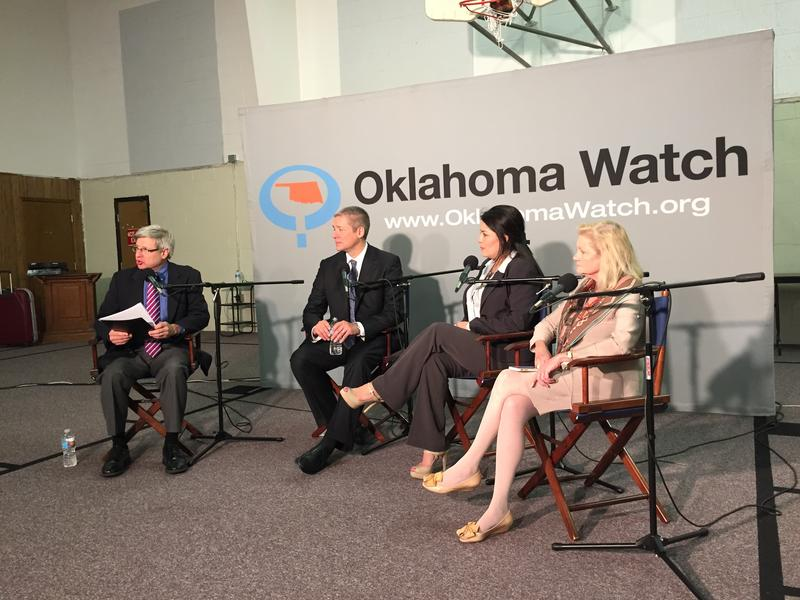 Left-to-right: Oklahoma Watch executive editor David Fritze, attorney Michael Brooks-Jimenez, Oklahoma City school board member Gloria Torres, Oklahoma City coucilwoman Meg Salyer