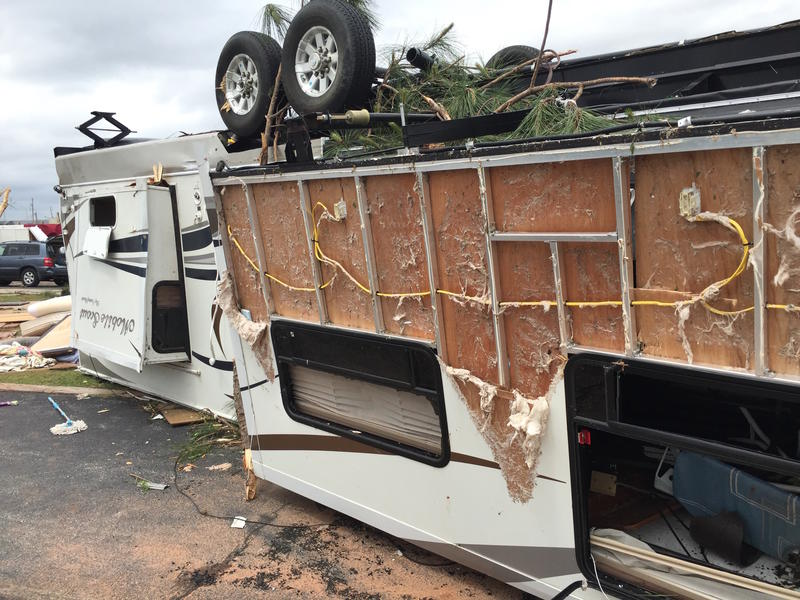 Severe weather left RVs overturned and damaged at the Roadrunner RV Park in southeast Oklahoma City