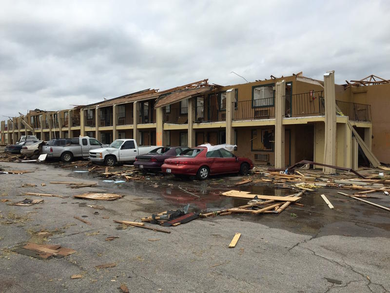 A tornado struck the Best Value Inn on Southeast 44th Street and Interstate 35