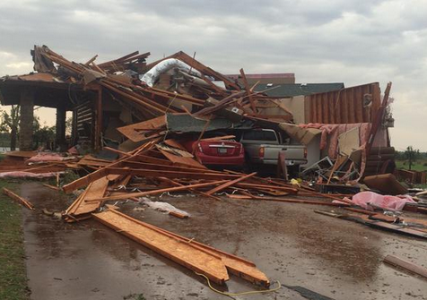 Storm damage south of Elmer, Okla.