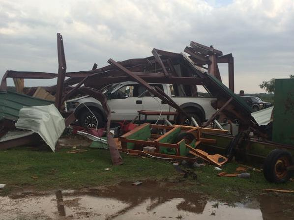 Damage from the May 16, 2015 tornado near Elmer.