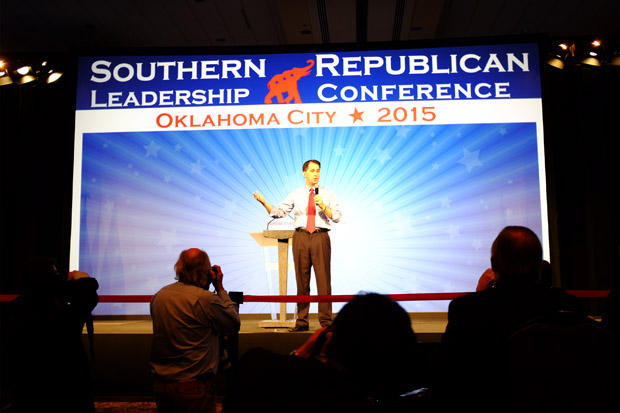 Wisconsin Gov. Scott Walker speaks at the Southern Republican Leadership Conference in Oklahoma City