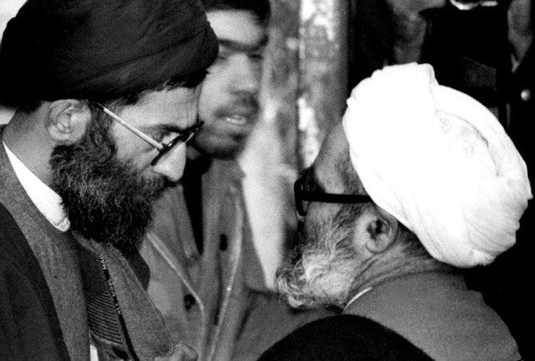 Iran's now-Supreme Leader Ayatollah Ali Khamenei (left) with Ayatollah Hossein-Ali Montazeri, 1978.