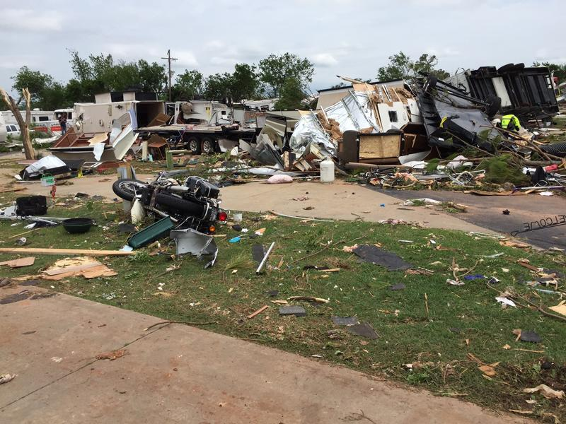 Damage from a May 6, 2015 tornado in south Oklahoma City.