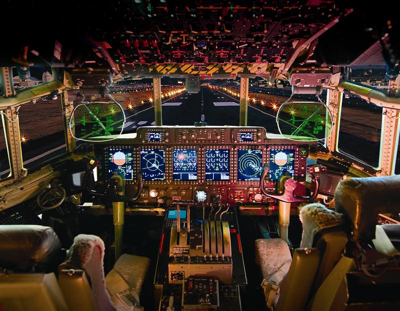 The modernized cockpit of a C-130 cargo plane, one of the projects at Boeing's Oklahoma City facility.