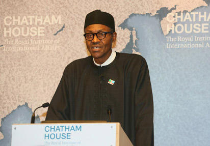 Muhammad Buhari speaks at the international think tank Chatham House on February 26, 2015.