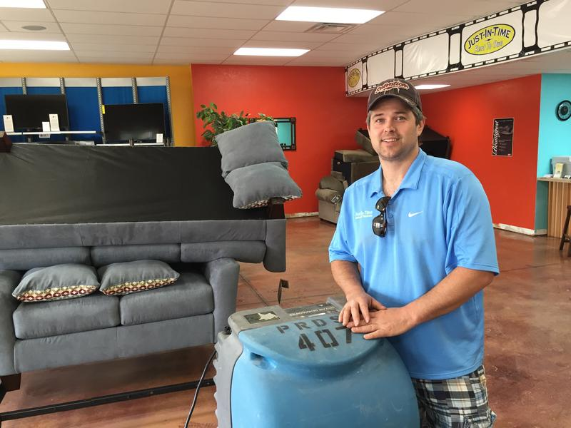 Justin Nimmo's rent-to-own store in Purcell, Oklahoma was damaged during the flood.