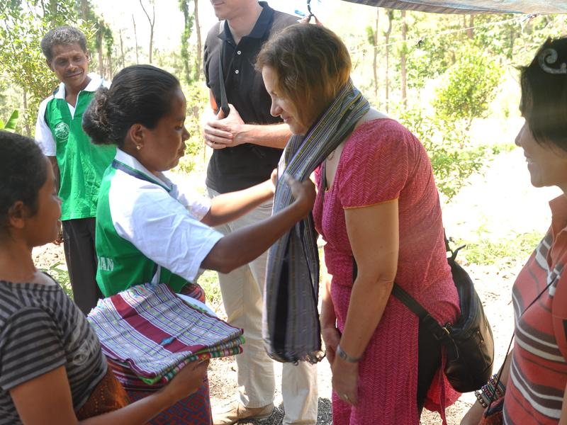 World Neighbors CEO Kate Schecter meets with residents during a recent trip to Indonesia