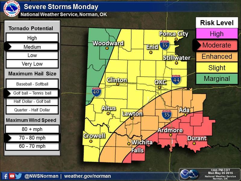 Updated National Weather Service severe weather outlook for Memorial Day as of 12:30 p.m.