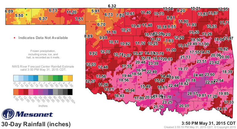 30-day rainfall totals from Oklahoma Mesonet stations as of May 31, 2015.