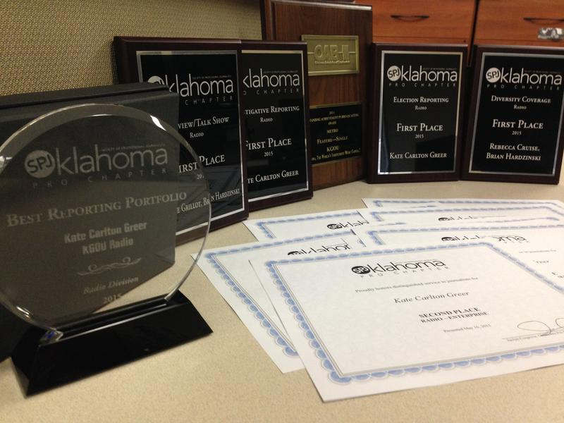 Some of the awards received by KGOU in the spring of 2015.