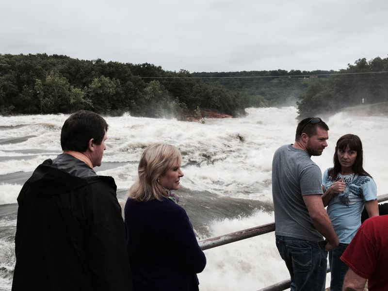 Gov. Mary Fallin visits the flood gates at Grand Lake in northeast Oklahoma.