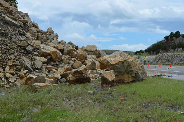 Thursday's rock slide along Interstate 35 northbound in Murray County near Davis